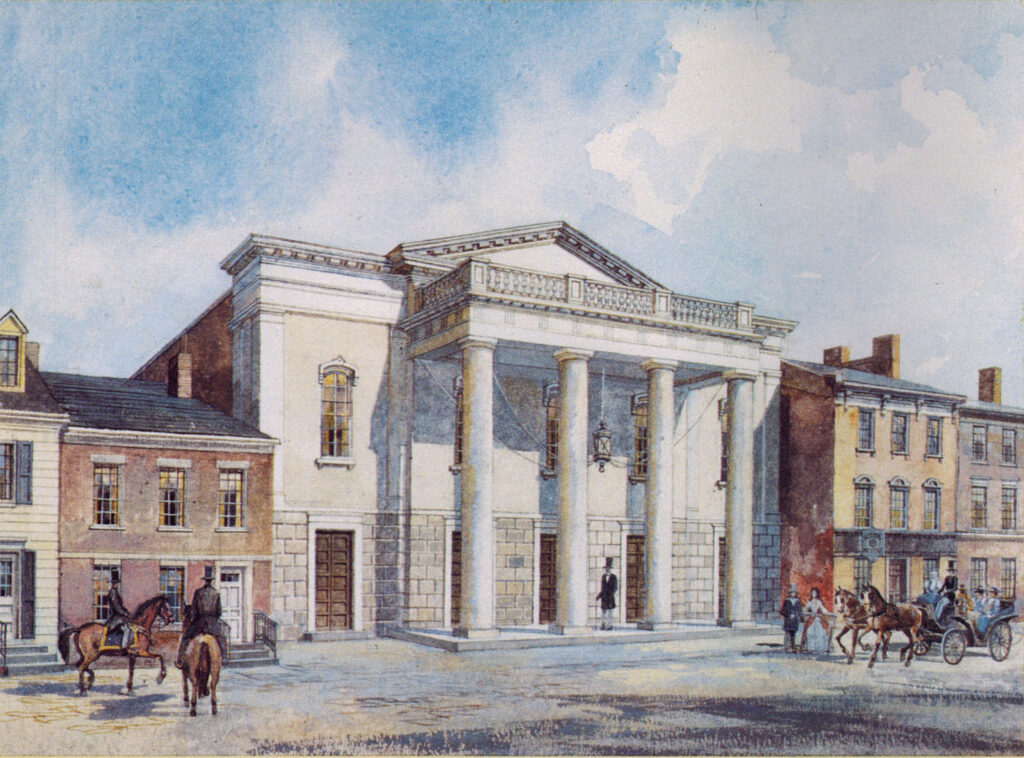 A painting of the first National Theatre in 1835. The theatre has four white columns with five doors on the facade.