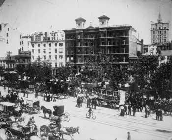 Photograph of street and National Theatre in 1890.