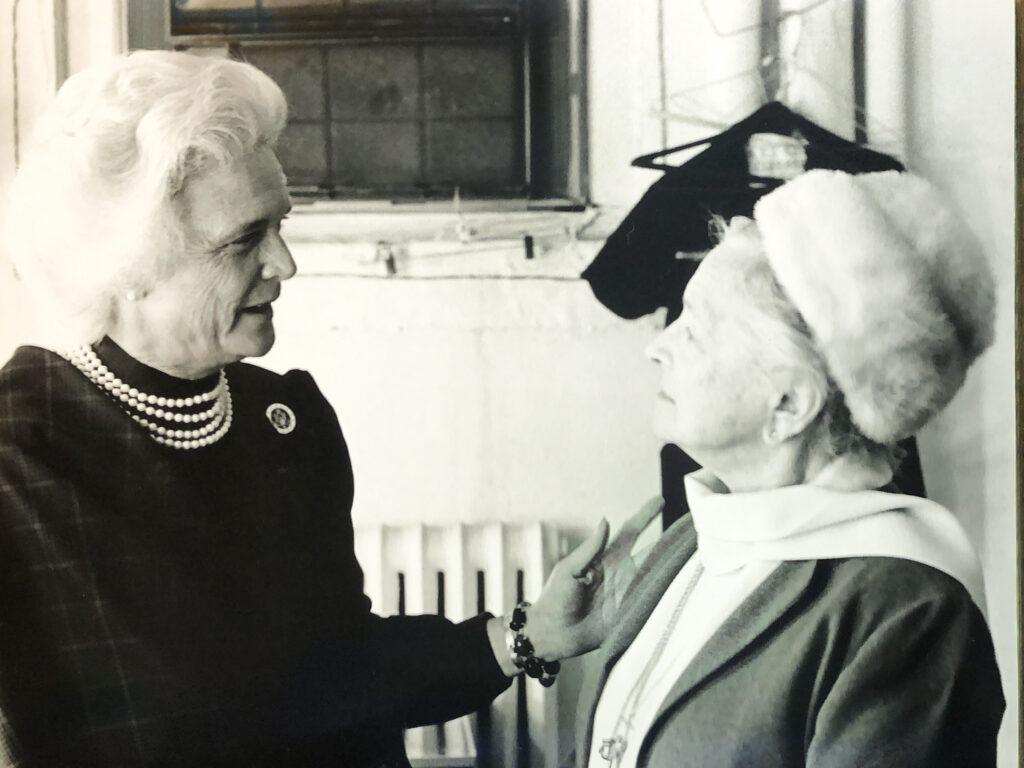 Mrs. Bush talks to a cast member.