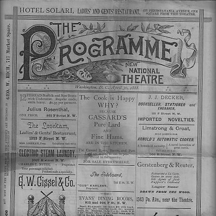 Progra from mid-1800s for The National Theatre.