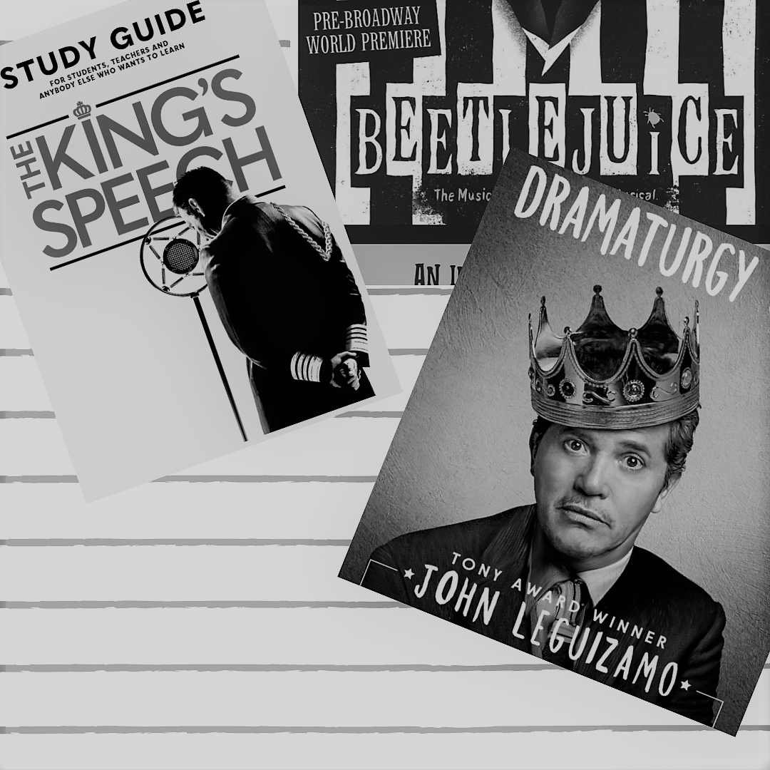 Covers for study guides for The King's Speech, John Leguizamo Latin History for Morons, and Beetlejuice the Musical. Black and white