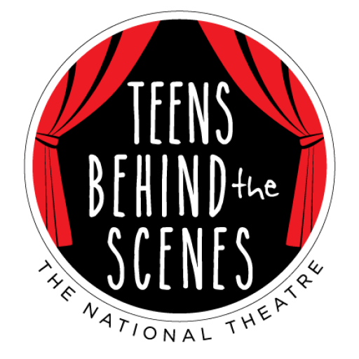 Teens Behind the Scenes logo framed by red curtains.