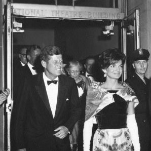 President Kennedy and Mrs. Kennedy leave The National after a performance.