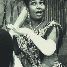 Actress Pearl Bailey in costume for Hello, Dolly