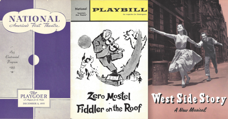 Playbills from The National's history including Fiddler on the Roof and West Side Story.