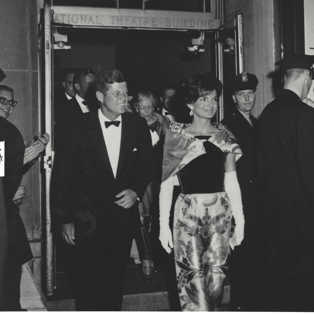 John and Jackie Kennedy leaving The National Theatre